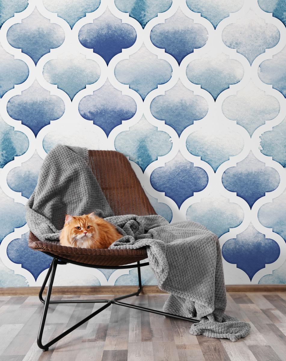 Fototapeta premium Dywan Tanger w kolorach niebieskim na białym tle.