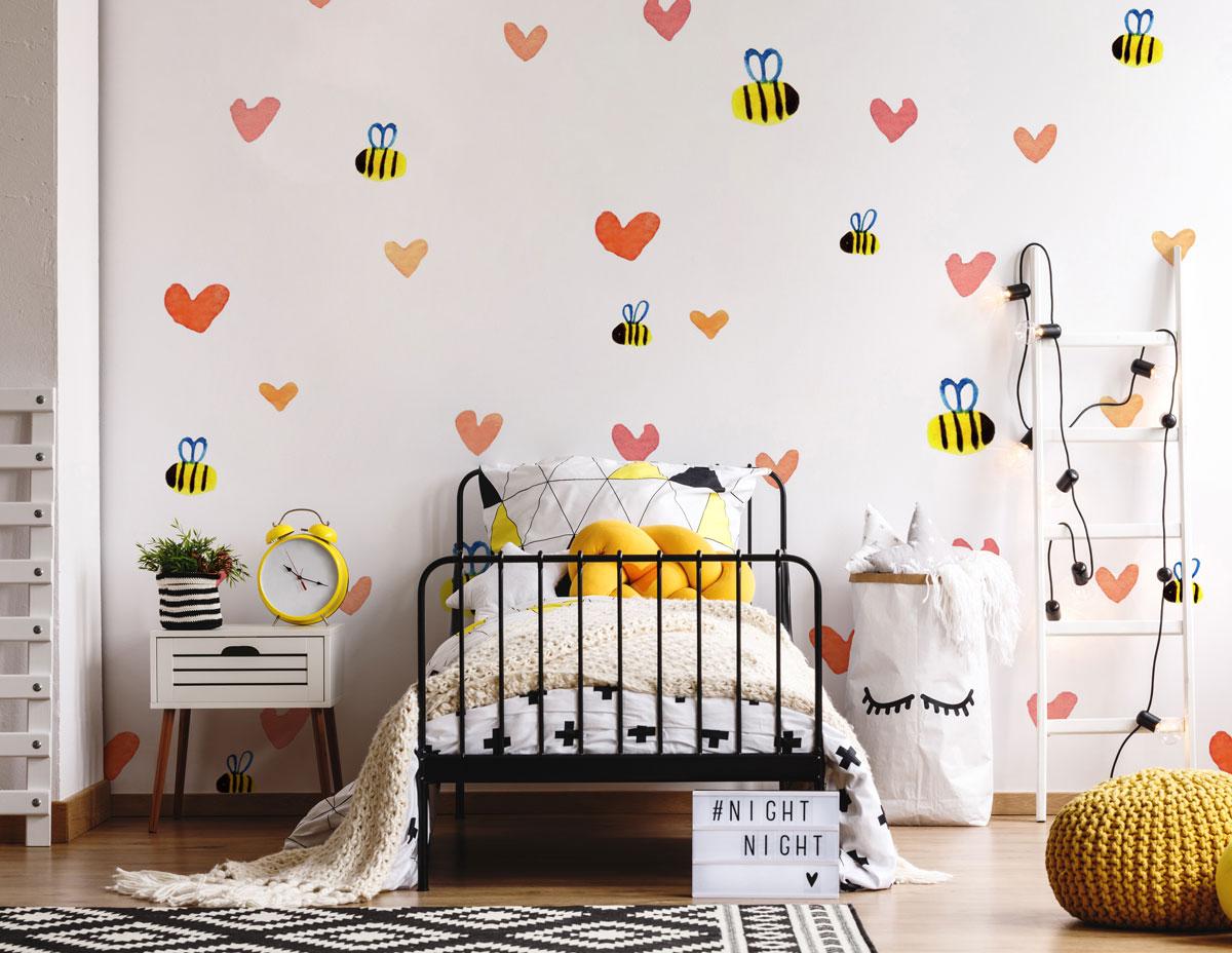Fototapeta premium akwarela serca i pszczoły