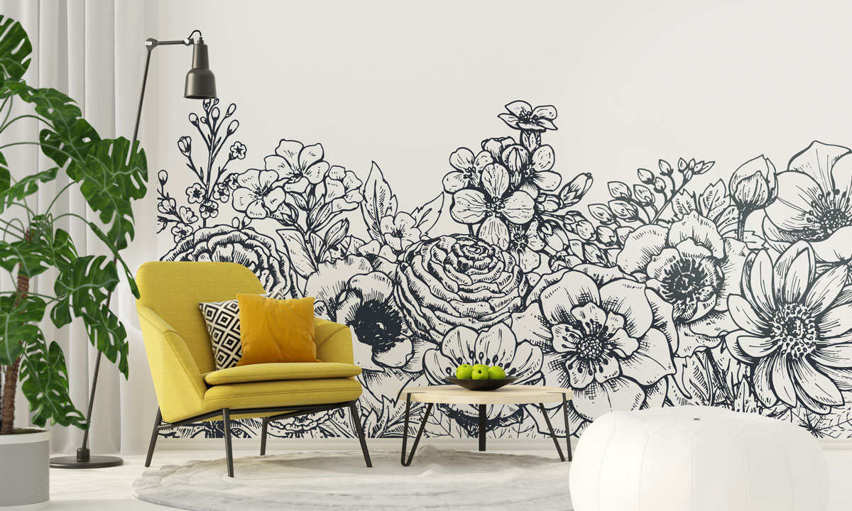 Fototapeta premium Kwiatowe tło z wiosennych kwiatów i roślin
