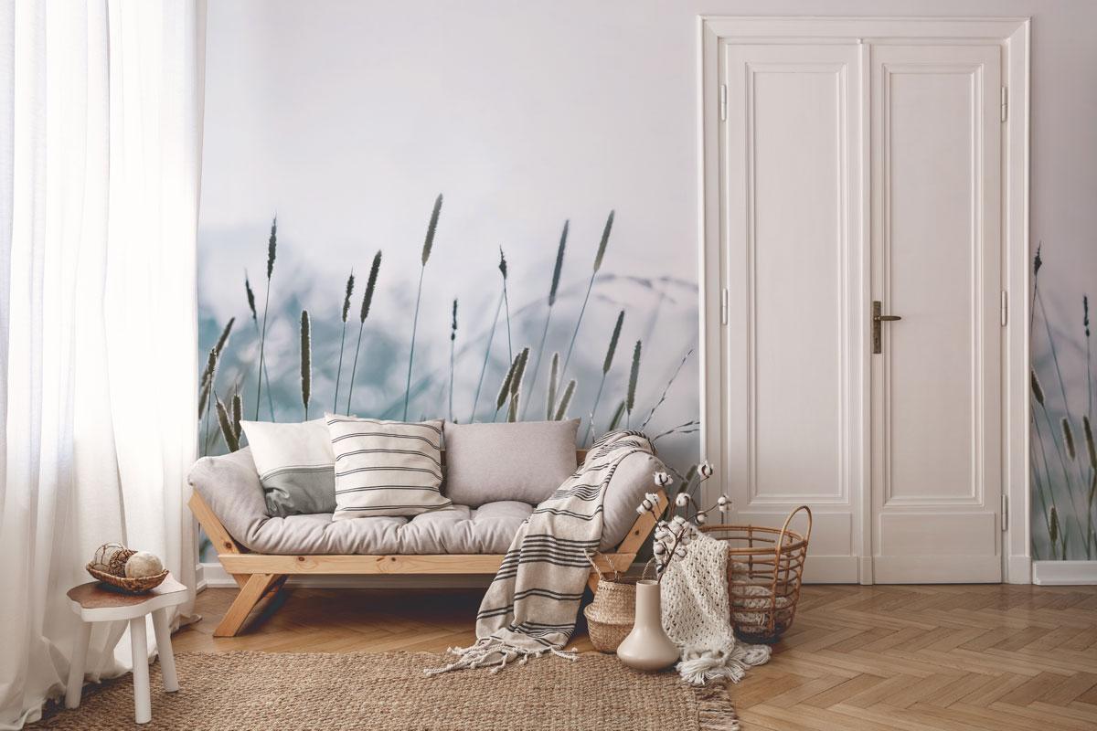 Fototapeta premium Pastelowa letnia łąka z pałkami wodnymi