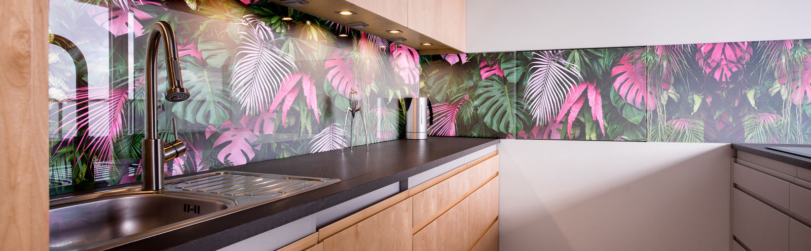 Fototapeta premium Monstera , tropikalne drzewa, liście w różnych rozmiarach, różnych kolorach