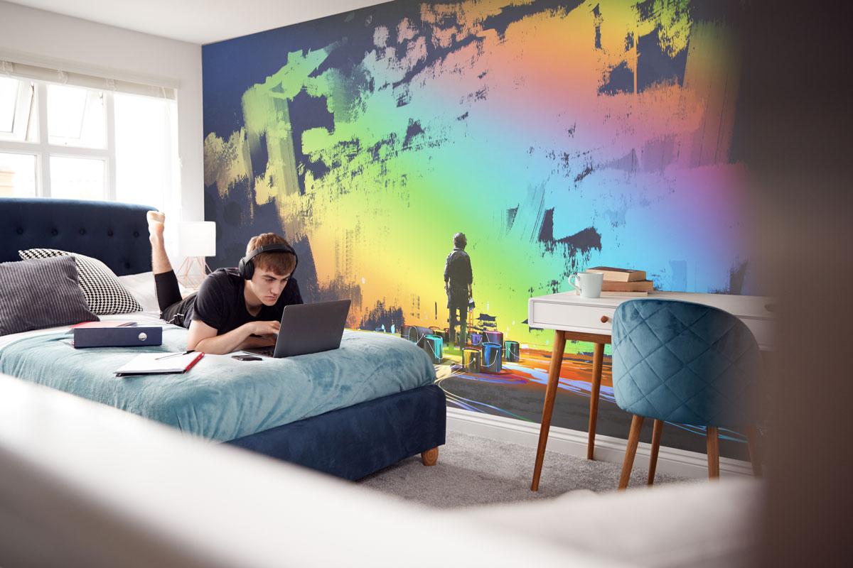 Fototapeta premium Tęczowy mural na ścianie