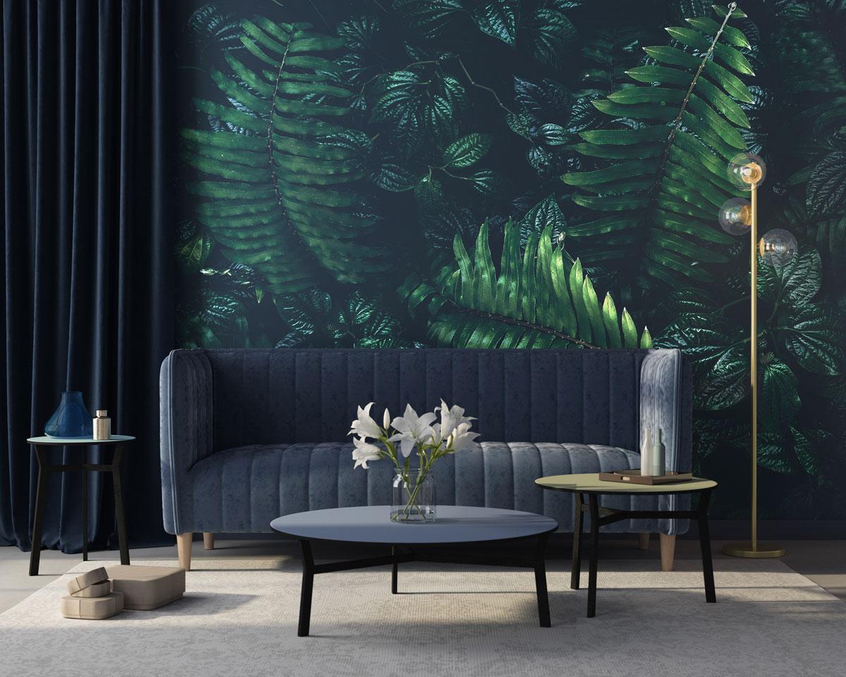 Fototapeta premium Tropikalny zielony liść w ciemnym tonie.