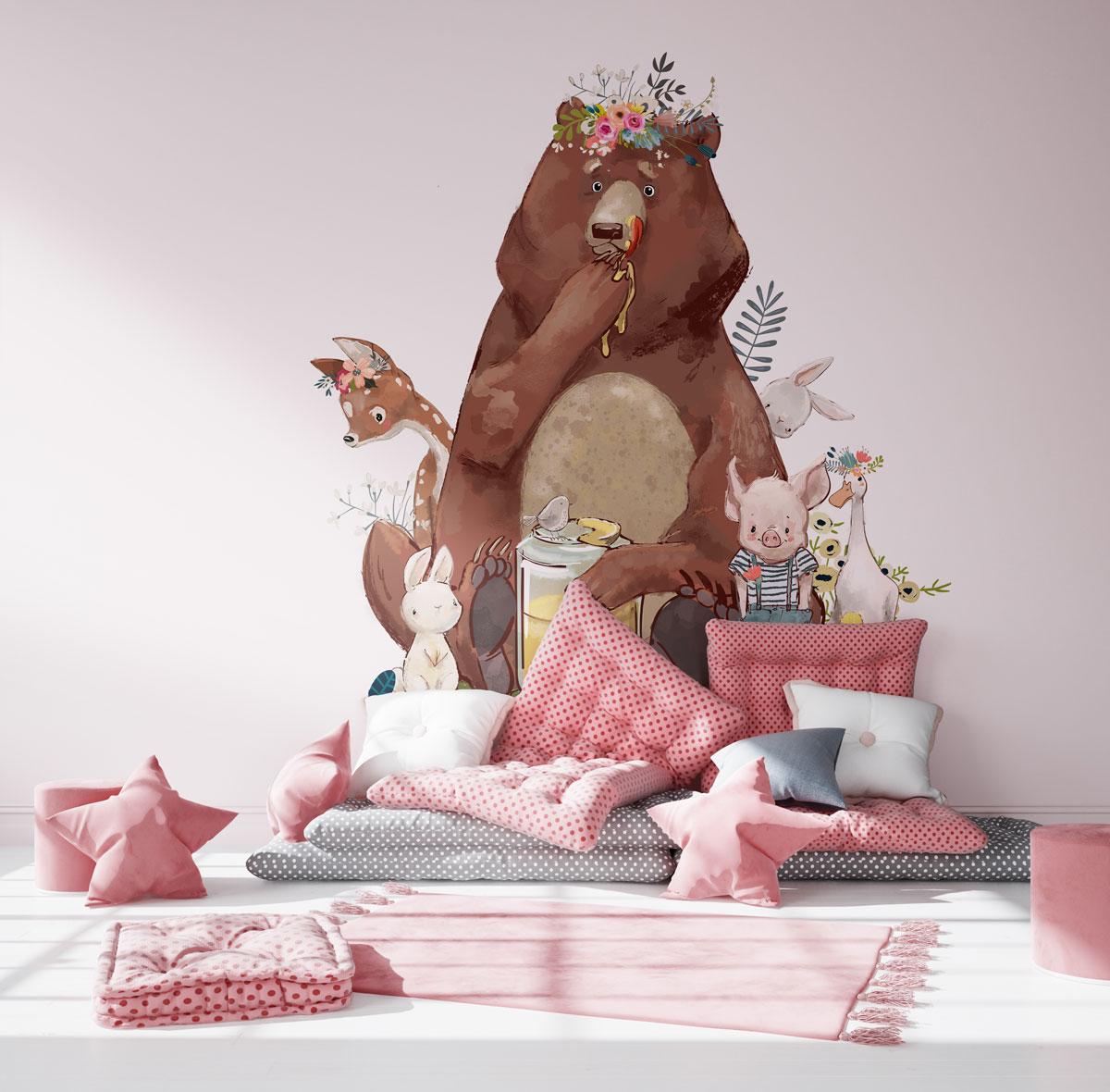 Niedźwiadek i słodkie zwierzęta do pokoju dziewczynki